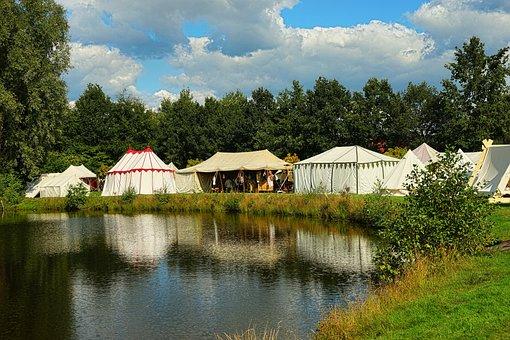 Tents, Knight Village, Festival, Lake, Idyllic, Summer