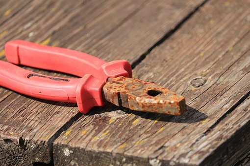 Pliers, Pink, Metal, Rust, Table, Wood, Forest