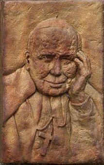 Relief, Tile, Portrait, Pope, John Paul