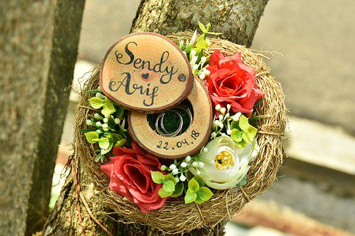 Ring Nest, Ring, Couple, Flowers, Jewelry, Commitment