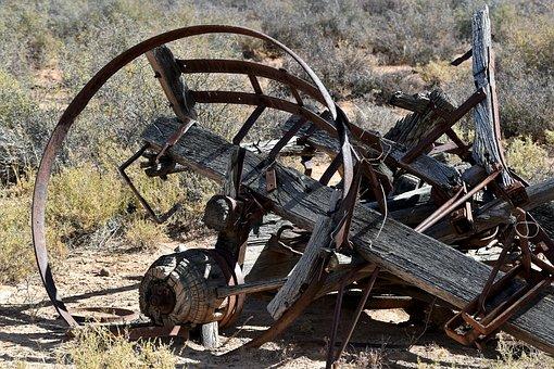 Wagon, Old, Abandoned, Rust, Rotten Wood, Desert
