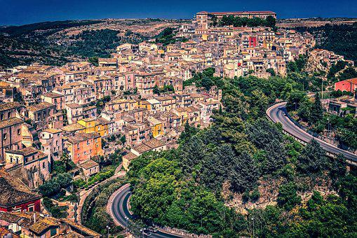 Houses, City, Sicily, Downtown, Ragusa, Historic Center