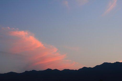 Sunset, Silhouette, Mountains, Sky, Landscape, Blue