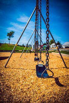 Swings, Child, Lonely, One, Playing, Playground, Sky