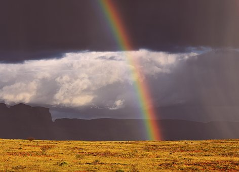 Rainbow, Storm, Clouds, Nature, Gloomy