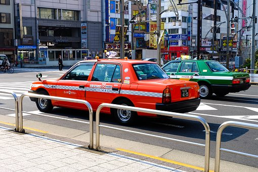 City, Car, Taxi, Japan, Road, Town
