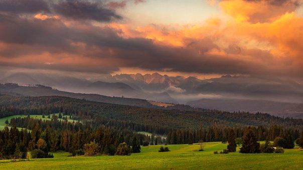 Sunrise, Spisz, Tatry, Landscape, Mountains, View, Tops