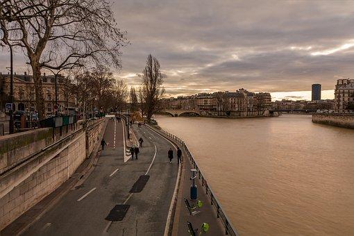 Paris, Seine, City, Sky, France, Twilight Ile St-louis