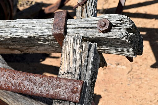 Machinery, Old, Rusted, Weathered Wood