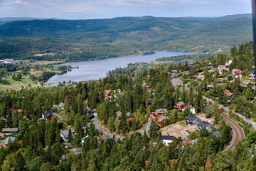 Aerial View, Village, Lake, City, Architecture