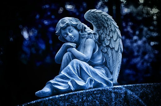 Night, Angel, Sculpture, White, Figure, Cemetery, Faith