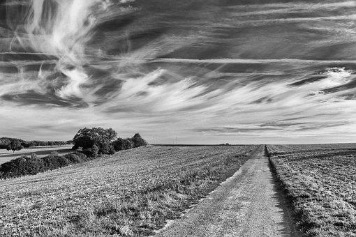 Landscape, Black White, Sky, Nature, Clouds, Fields