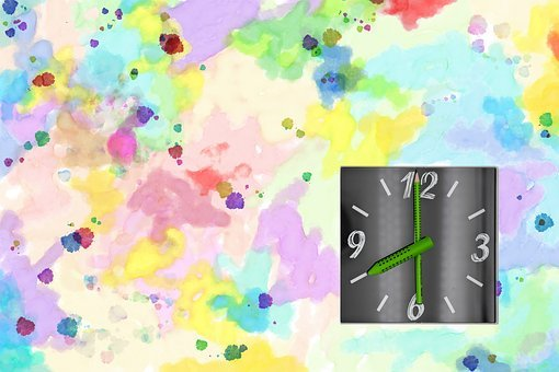 Clock, Time, Pointer, Timetable, School, Watercolor