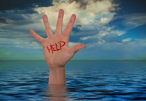 Hand, Sea, Water, Wave, Clouds, Help, Save, Drowning