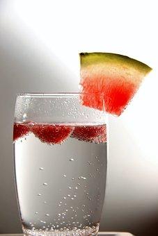 Water, Glass, Strawberries, Melon, Liquid, Drink, Wet