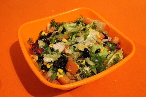 Eating, Orange, Salad, The Bowl