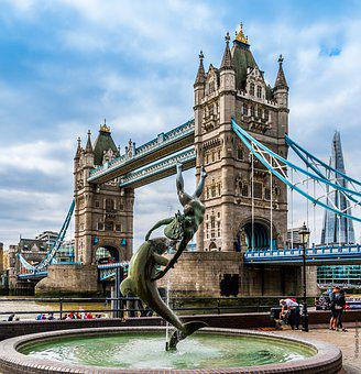 Girl With A Dolphin, Tower Bridge, London, England