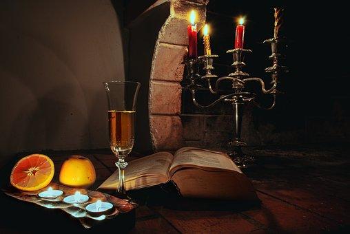 Reading, Romantic, Evening, Dark, Fireplace, Books, Old