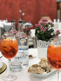 Table, Aperol Spritz, Dinner, Drink, Flower, Water