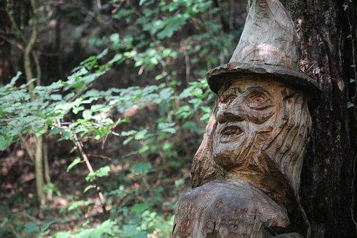 Witch, Forest, Sculpture, Wood, Magic, Fantasia, Mystic