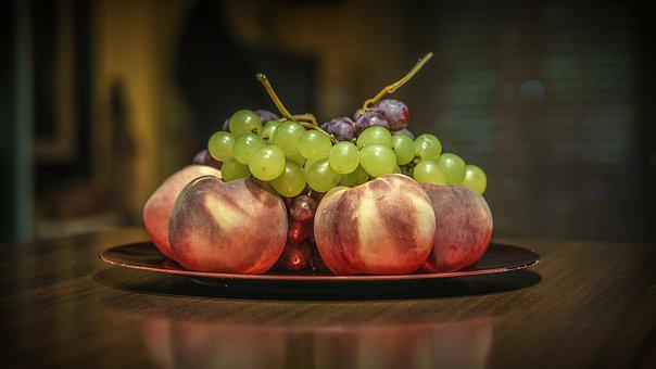 Peaches, Grape, Fresh, Summer, Food, Mature, Juicy