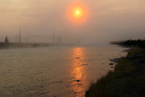 Madison River Sunrise, Yellowstone, National, Park
