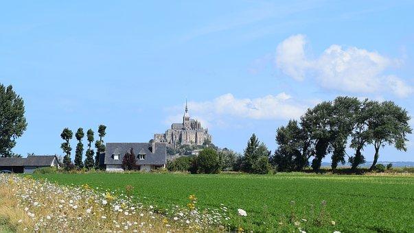 Mont Saint Michel, Michel, Mount, Nature, Fields, Field