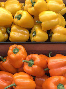 Bell Pepper, Yellow, Orange, Vegetables, Food, Pepper