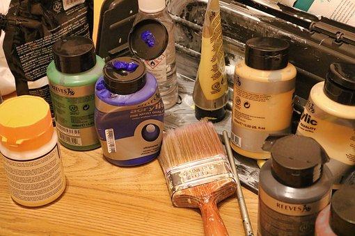 Paints, Painting, Acrylics, Acrylic, Paint, Paintbrush