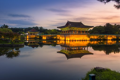Sunset, Nightview, Historic Site, Old Palace, Pond
