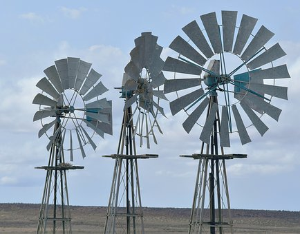 Windmills, South Africa, Dryland, Pump, Karoo