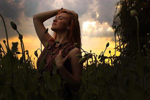Girl, Poppy, Sunset, Nature, Field, Red, Summer, Flower