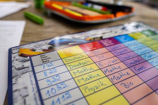 Timetable, Plan, Time, School, Learn, Homework, Desk