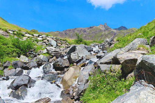 River, Stream, Mountain, Alps, Stones, Landscape, Grass