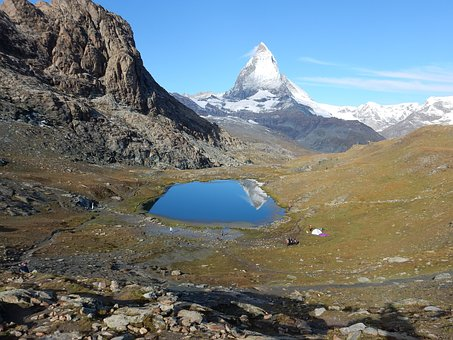 Matterhorn, Gorner Ridge, Switzerland, Mirroring, Lake