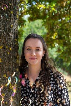 Woman, Young, Beautiful, Tree, Soap Bubbles, Romantic
