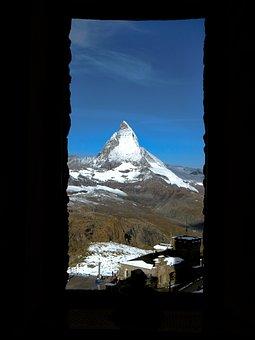 Window, Matterhorn, Switzerland, View, Landscape, Sky