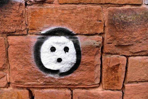 Bricks, Graffiti, Spray, Face, Wall, Art, Masonry