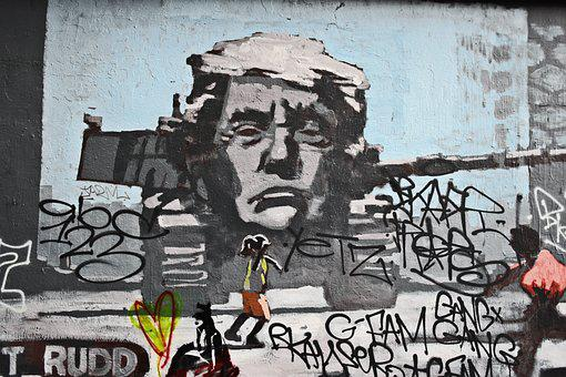 Melbourne, Trump, Alley, Grafitti, Art, Color, Panzer