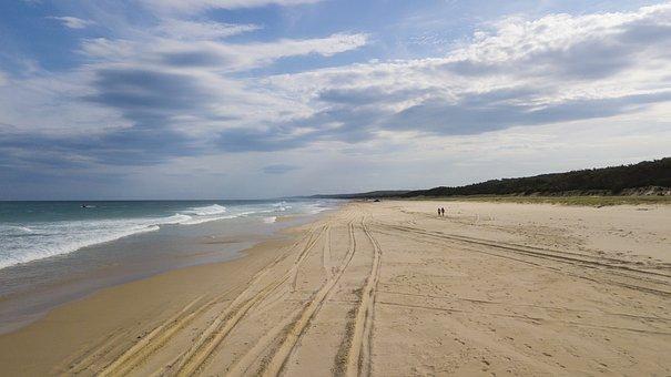 Beach, Empty, Waves, Island