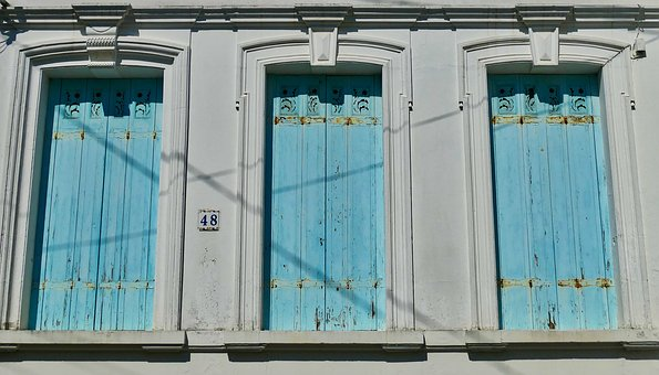 Architecture, Facade, Shutters, Window, Blue, Closed
