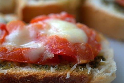 Bruschetta, Tomatoes, Mozzarella, Parmesan, Pesto