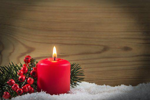 Christmas, Candle, Red, Snow, Wood, Berries, Fir Tree