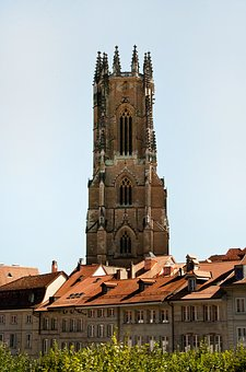 Cathedral, Freiburg, Fribourg, Summer, City