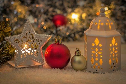 Christmas, Deco, Ball, Snow, Lantern, Candle, Fir Tree