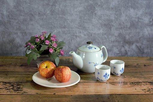 Tea, Pot, Fruits, Flower Vase, Vintage