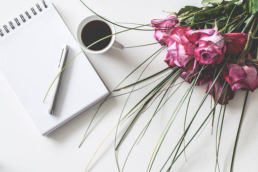 Desk, Notepad, Coffee, Empty, Leaf, Roses, Romantic