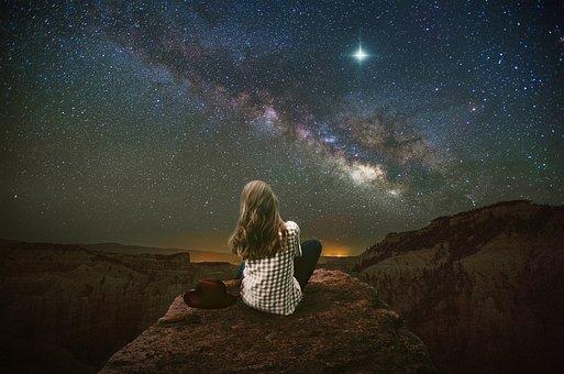 Fantasy, Landscape, Mountains, Stars, Sky, Nightsky