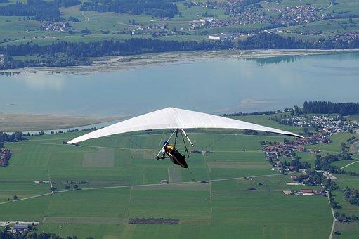 Hang Glider, Sport, Landscape, Flying, Lake, Nature