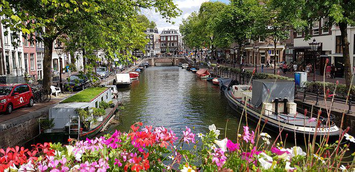 Amsterdam, Netherlands, Flowers, Holland, Channel